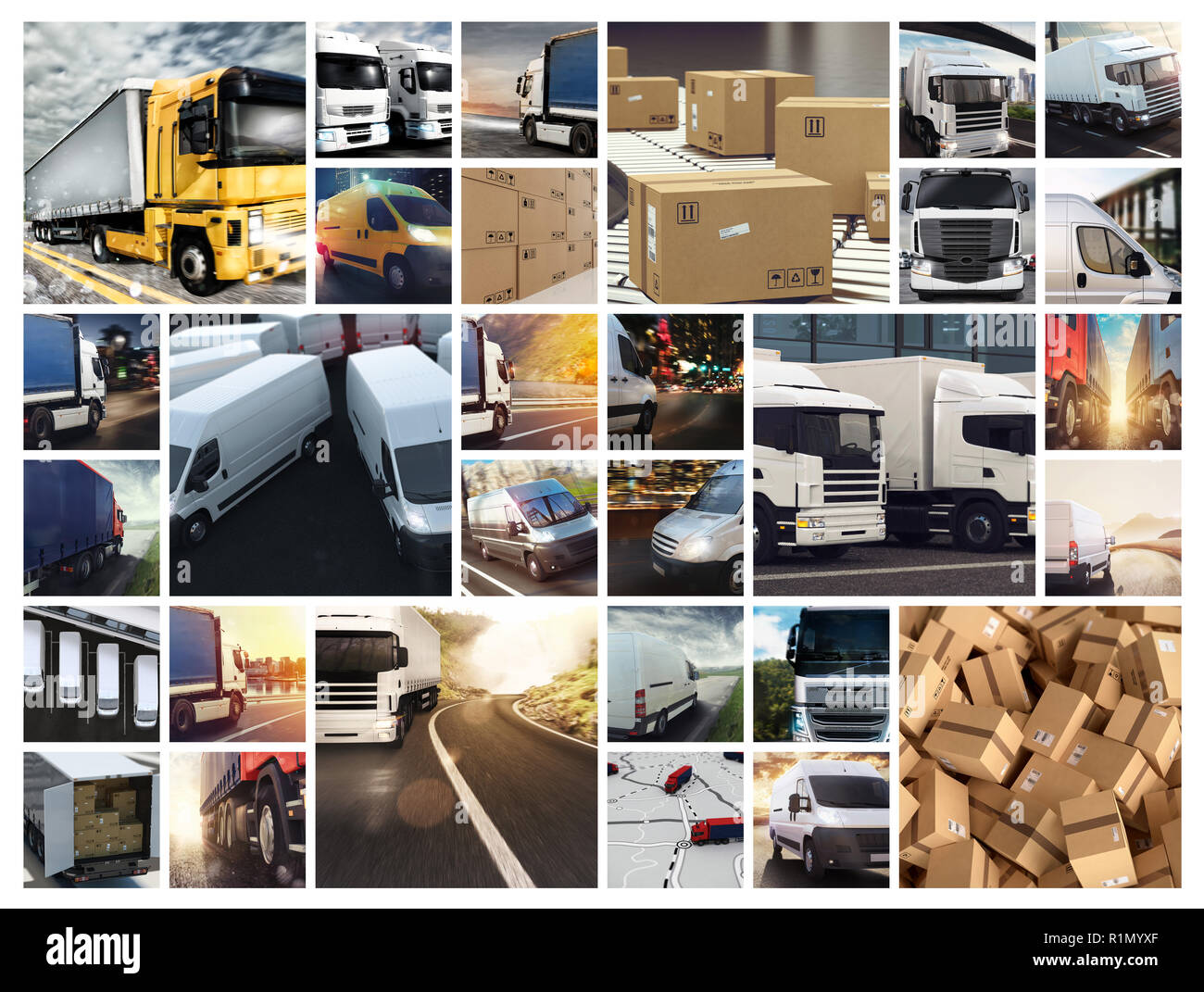 Collage composition with vans and trucks. Concept of transport and logistic - Stock Image