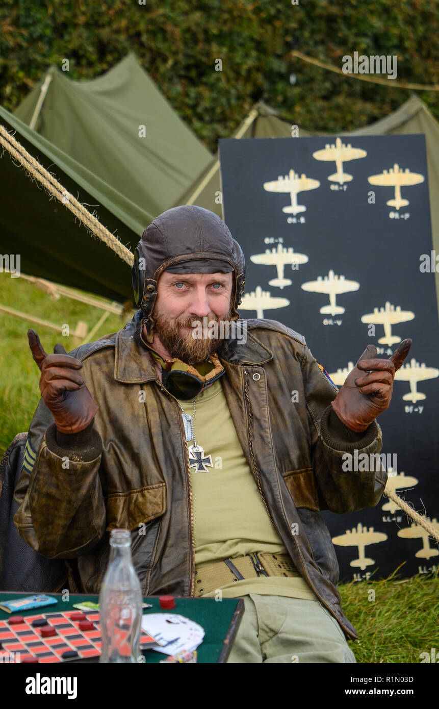 635b9c17938e8 Re-enactor playing Sergeant Oddball character played by Donald Sutherland  in the film Kelly s Heroes. Tank commander Second World War 1970s film