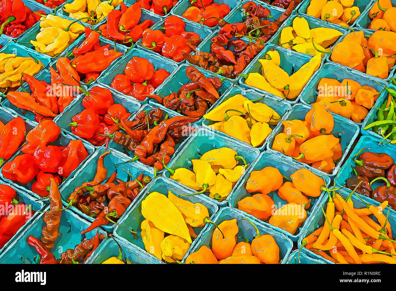 Variously colored small peppers for sale at the Union Square Green Market in Manhattan. COLORS MANIPULATED IN PHOTOSHOP. - Stock Image