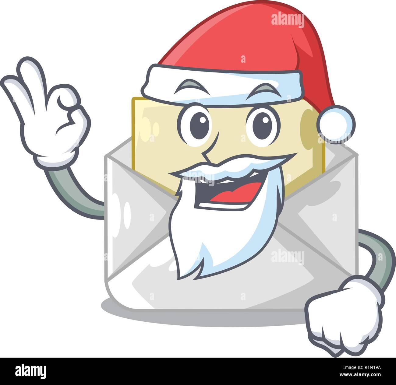 santa envelope opened on shape white mascot stock vector art