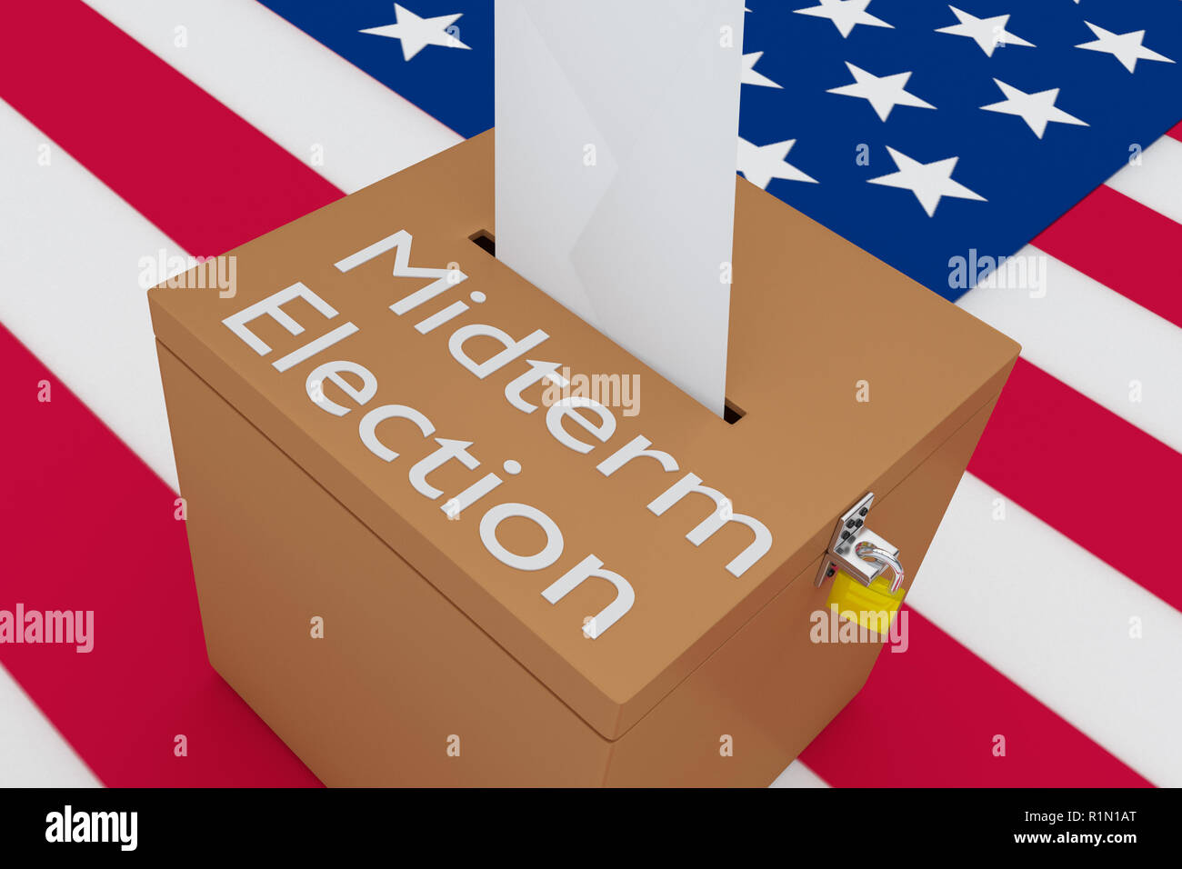 3D illustration of Midterm Election script on a ballot box, with US flag as a background. - Stock Image