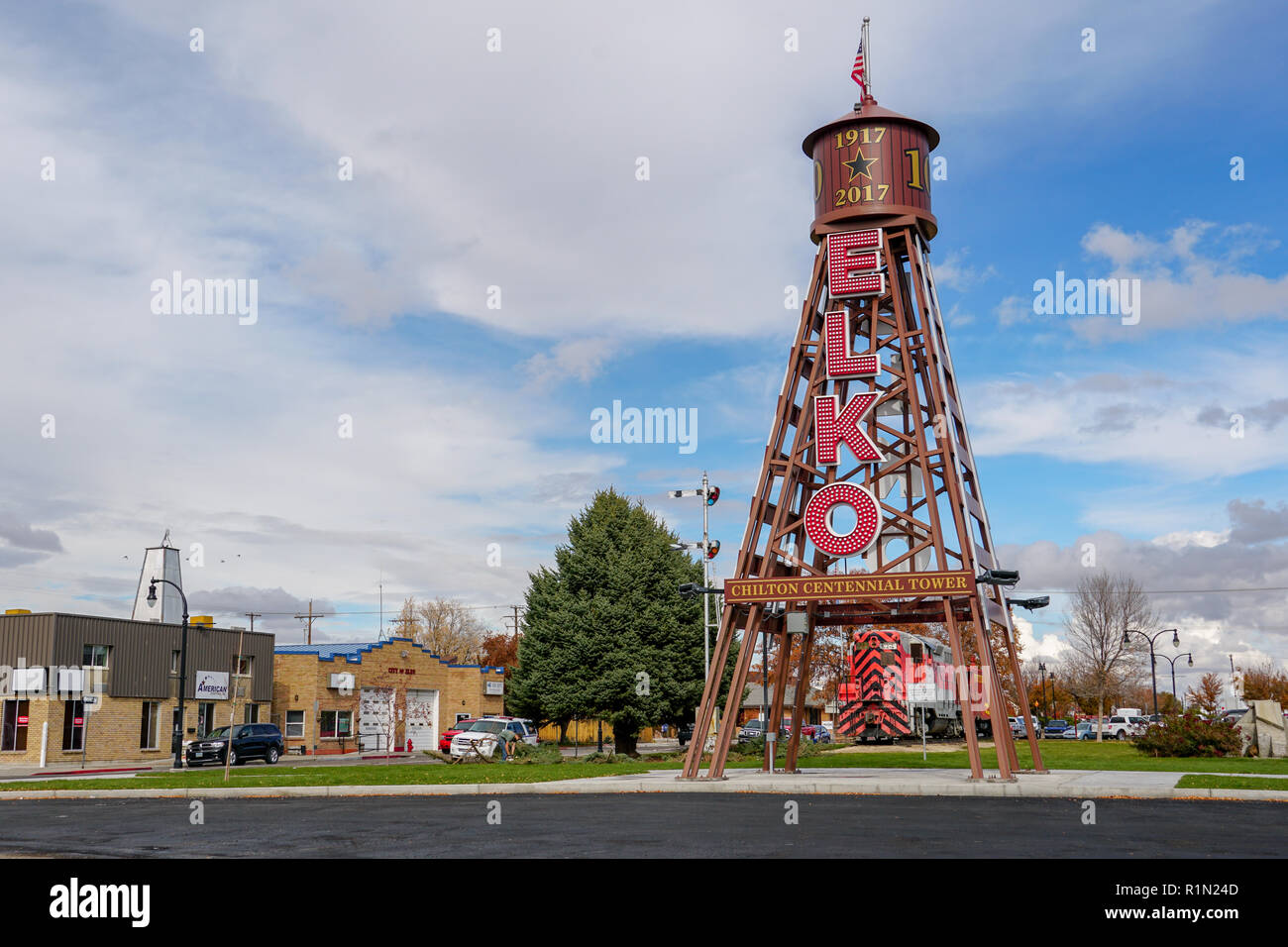 View of the Chilton Centennial Tower in downtown Elko, Nevada. - Stock Image