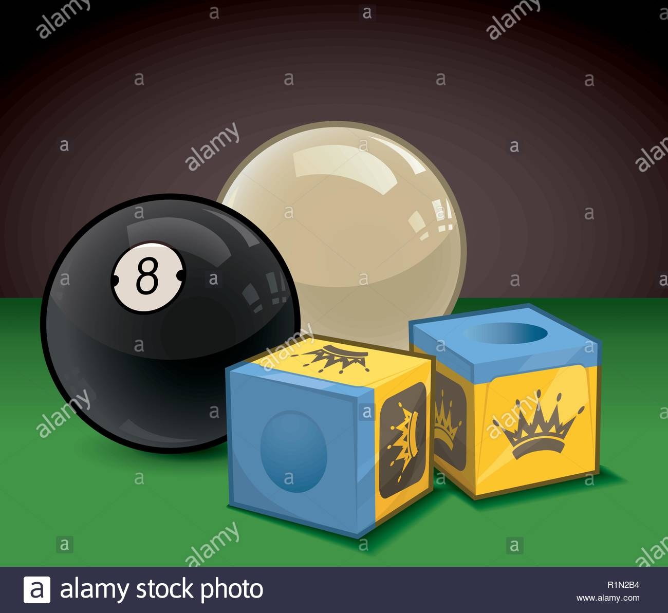 A glossy eight ball and cue ball with blue cue stick chalk on a green felt billiards table - Stock Vector