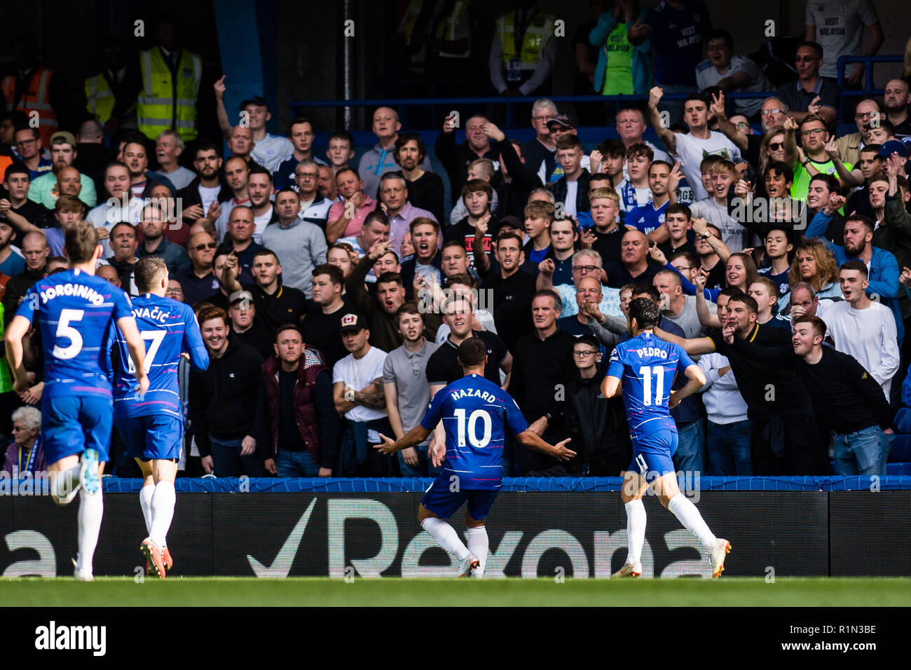 London England September 15 Eden Hazard Of Chelsea Fc Celebrate 2nd Goal On Front Of Away Fans During The Premier League Match Between Chelsea Fc And Cardiff City At Stamford Bridge