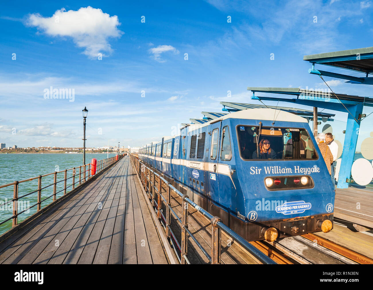 Woman driving the Southend Pier train. - Stock Image