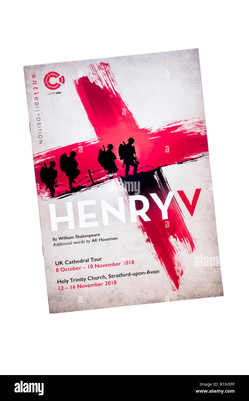 2018 Cathedral Tour of Antic Disposition production of Henry V by Shakespeare with additional words by AE Housman to mark centenary of First World War - Stock Image