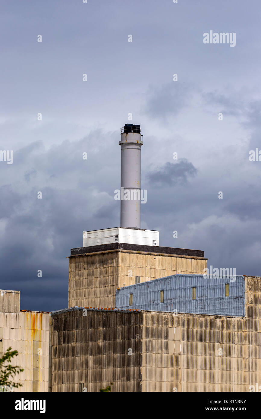 Chimney of British salt factory in Middlewich Cheshire UK - Stock Image
