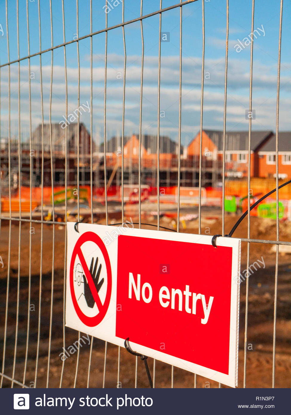 No entry sign on security gate on a building site in Elworth near Sandbach Cheshire UK - Stock Image