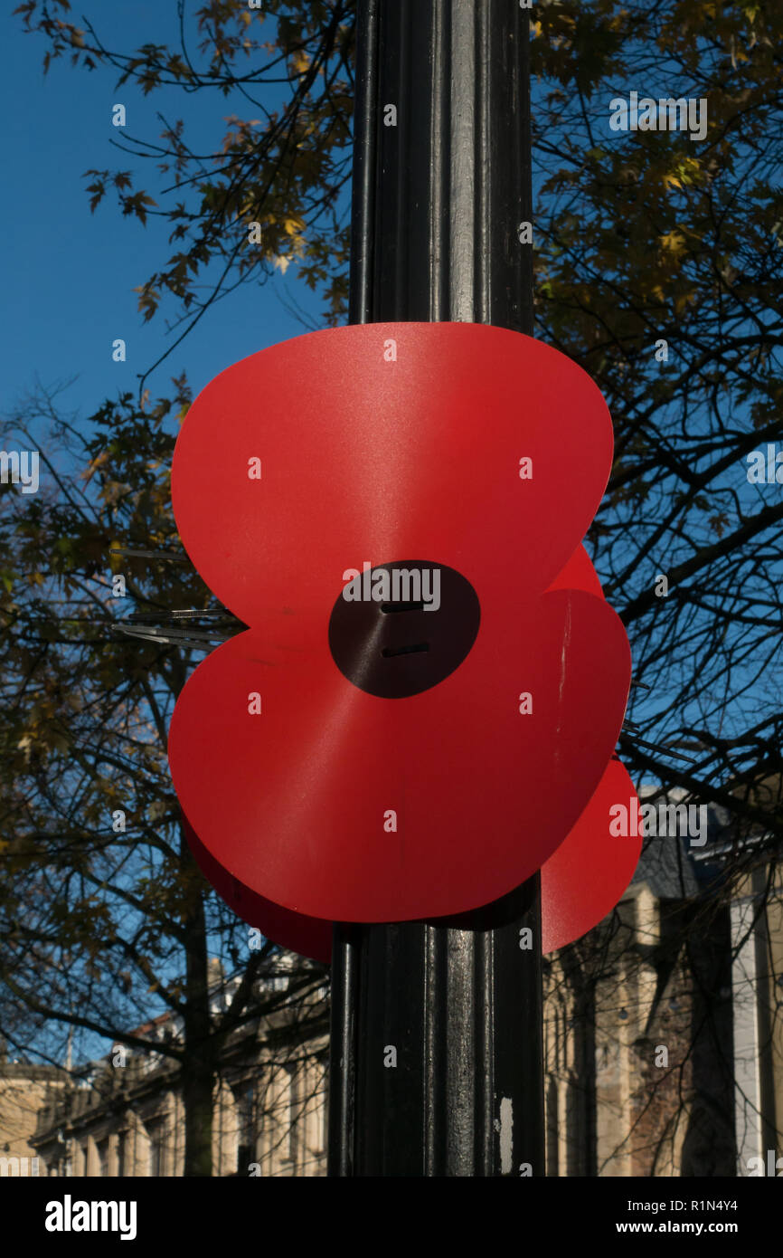 Large poppy on lamp post. Bristol  Remembrance Day Parade. 2018 - Stock Image