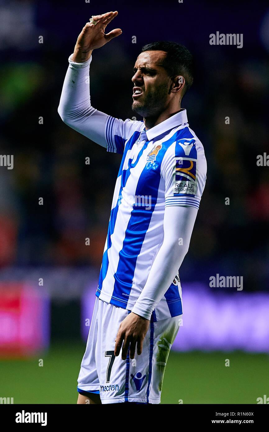 VALENCIA, SPAIN - NOVEMBER 09: Juanmi of Real Sociedad during the La Liga match between Levante UD and Real Sociedad at Ciutat de Valencia on November 9, 2018 in Valencia, Spain. (Photo by David Aliaga/MB Media) - Stock Image