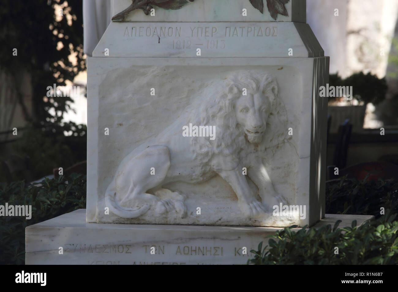 Kea Island Greece Ioulidha Monument to The First Balkan War 1912- 1913 - Stock Image