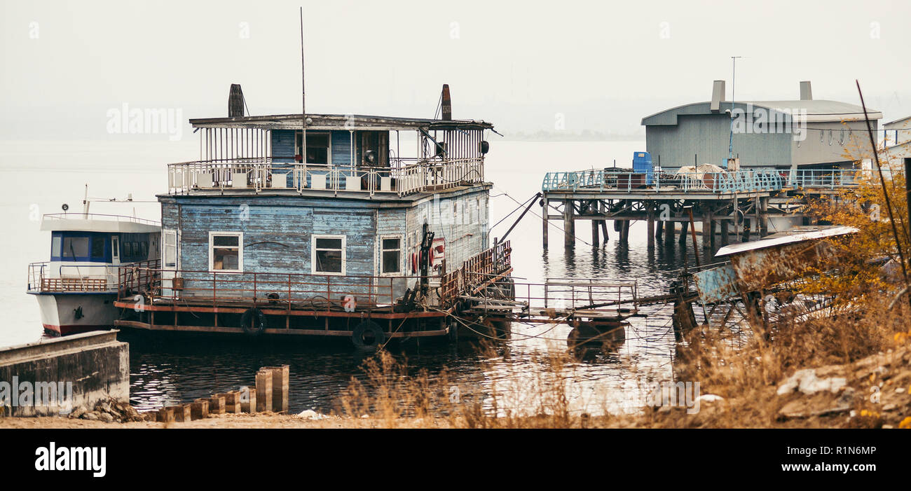 the old floating pier. landing stage. - Stock Image