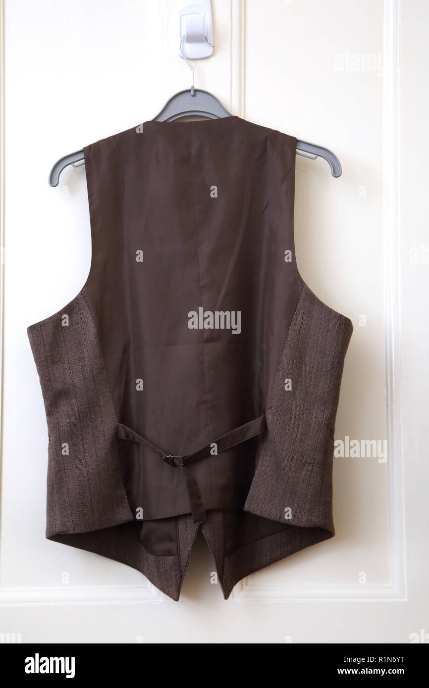 Lady's Brown Waistcoat Back view - Stock Image