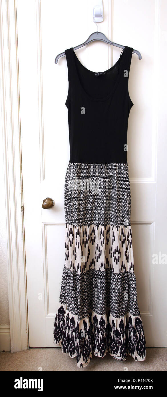 Black and White Sleeveless Maxi Dress - Stock Image