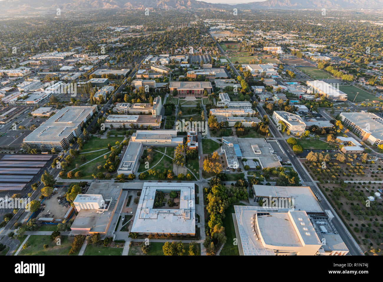 Los Angeles, California, USA - October 21, 2018:  Late afternoon aerial view of California State University Northridge campus facilities in the San Fe - Stock Image