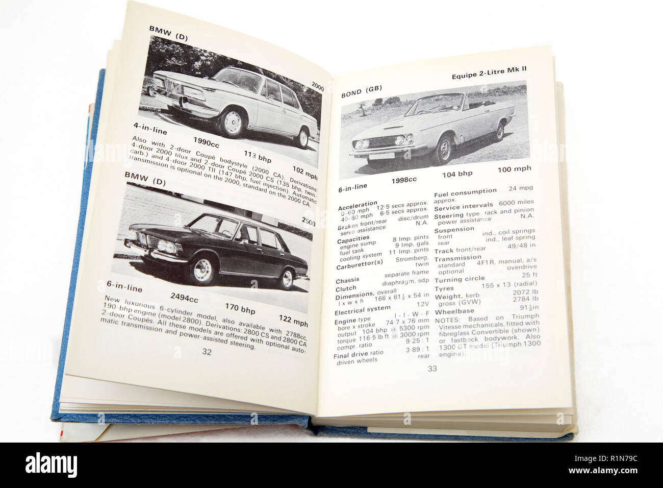 Old Book The Observer's Book of Automobiles - Stock Image
