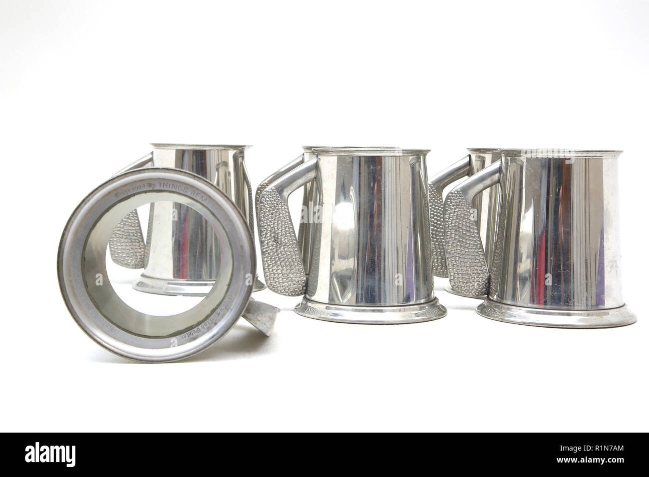 L.E.E.G.S Golf Trophy Tankards with Glass Base - Stock Image