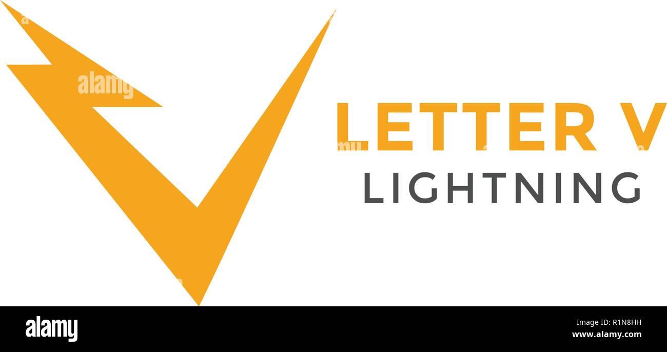 letter v lightning graphic design template vector stock vector art