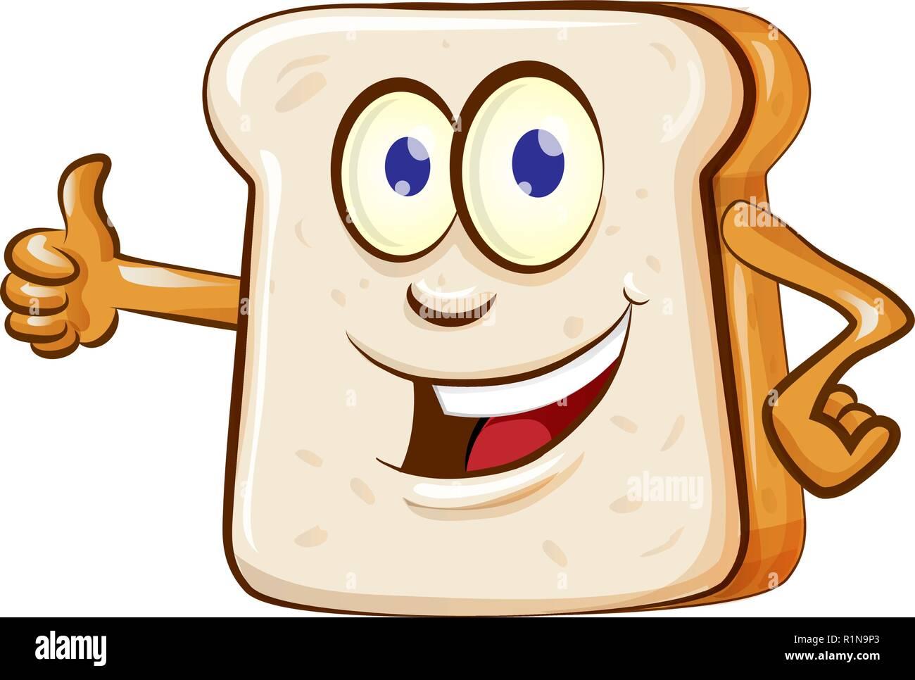 slice bread mascot cartoon isolated on white background - Stock Image