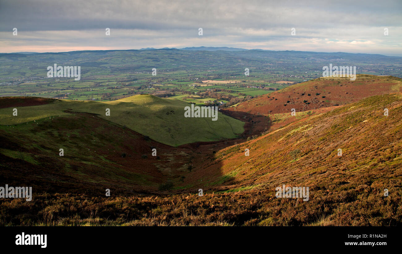 Clwydian hills and Vale of Clwyd, North Wales - Stock Image