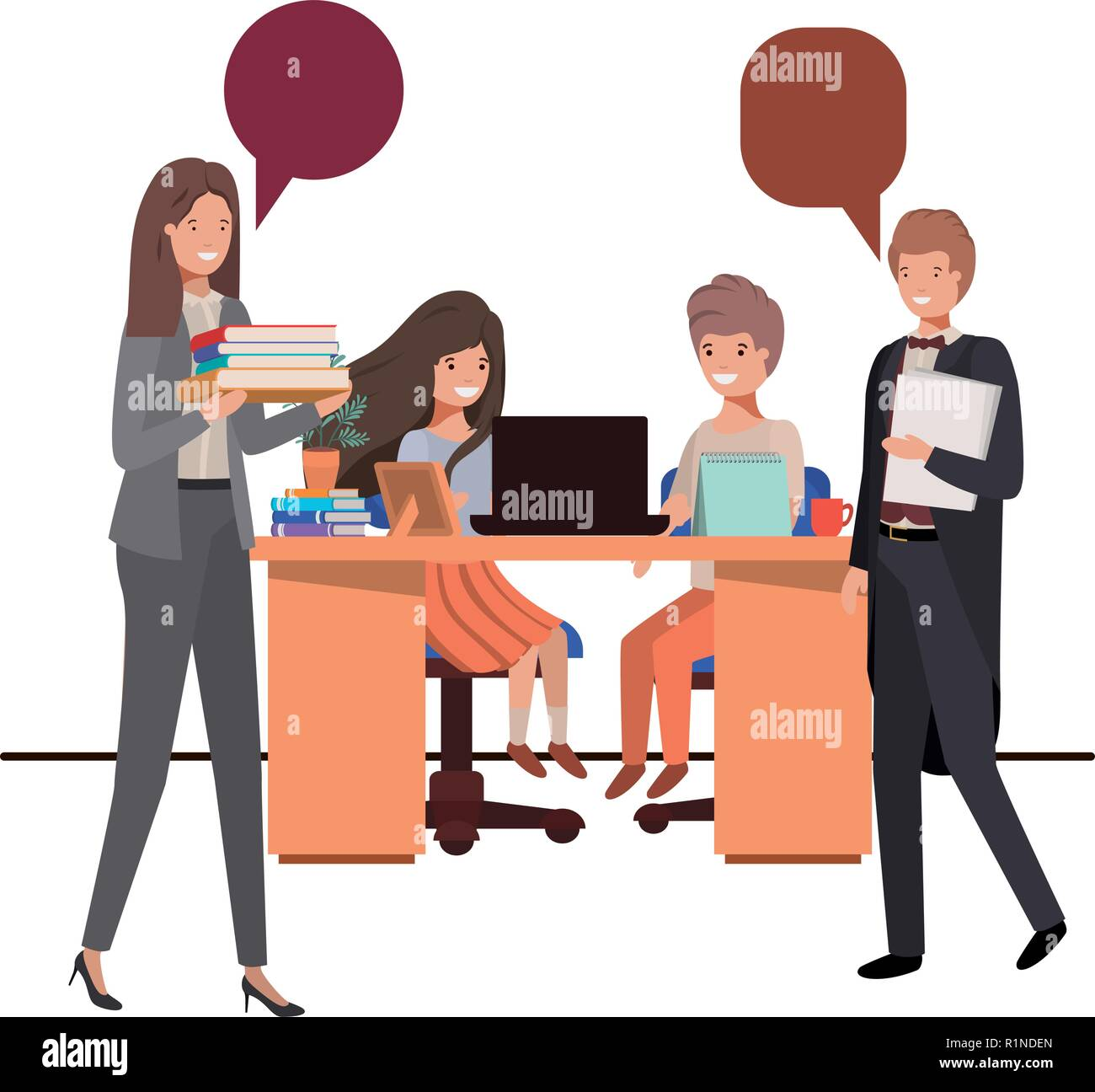teachers in the classroom with students and speech bubble - Stock Image