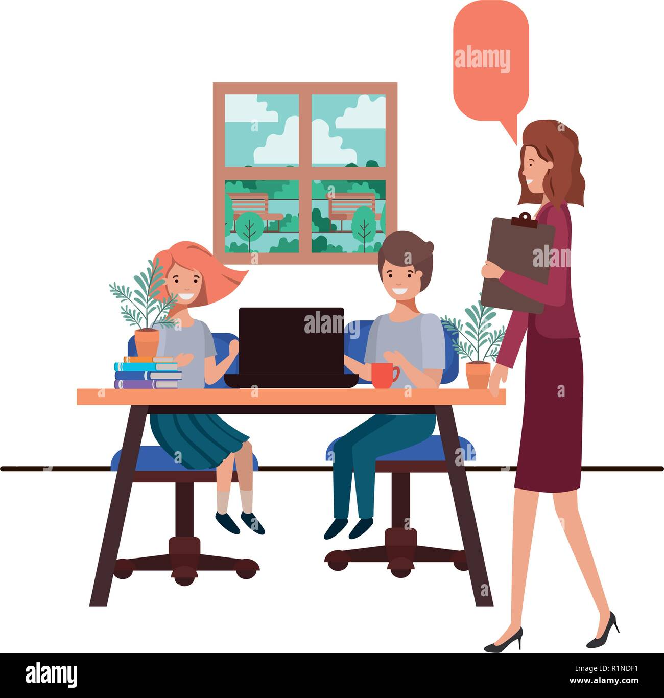 female teacher in the classroom with students and speech bubble - Stock Image
