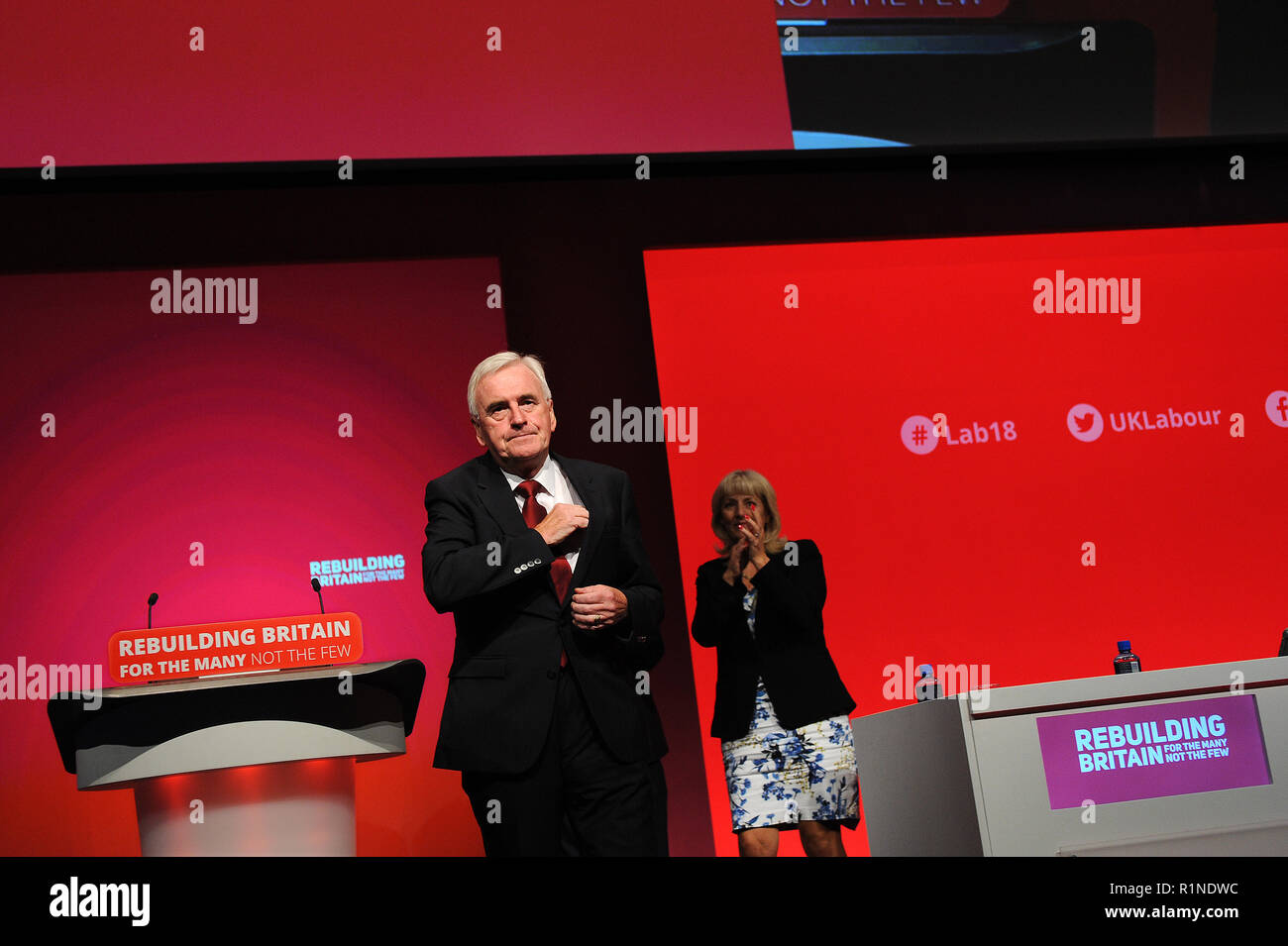 Liverpool, England. 24th September, 2018.  John McDonnell MP, Shadow Chancellor, at the completion of his keynote speech on the theme of Private Inves - Stock Image