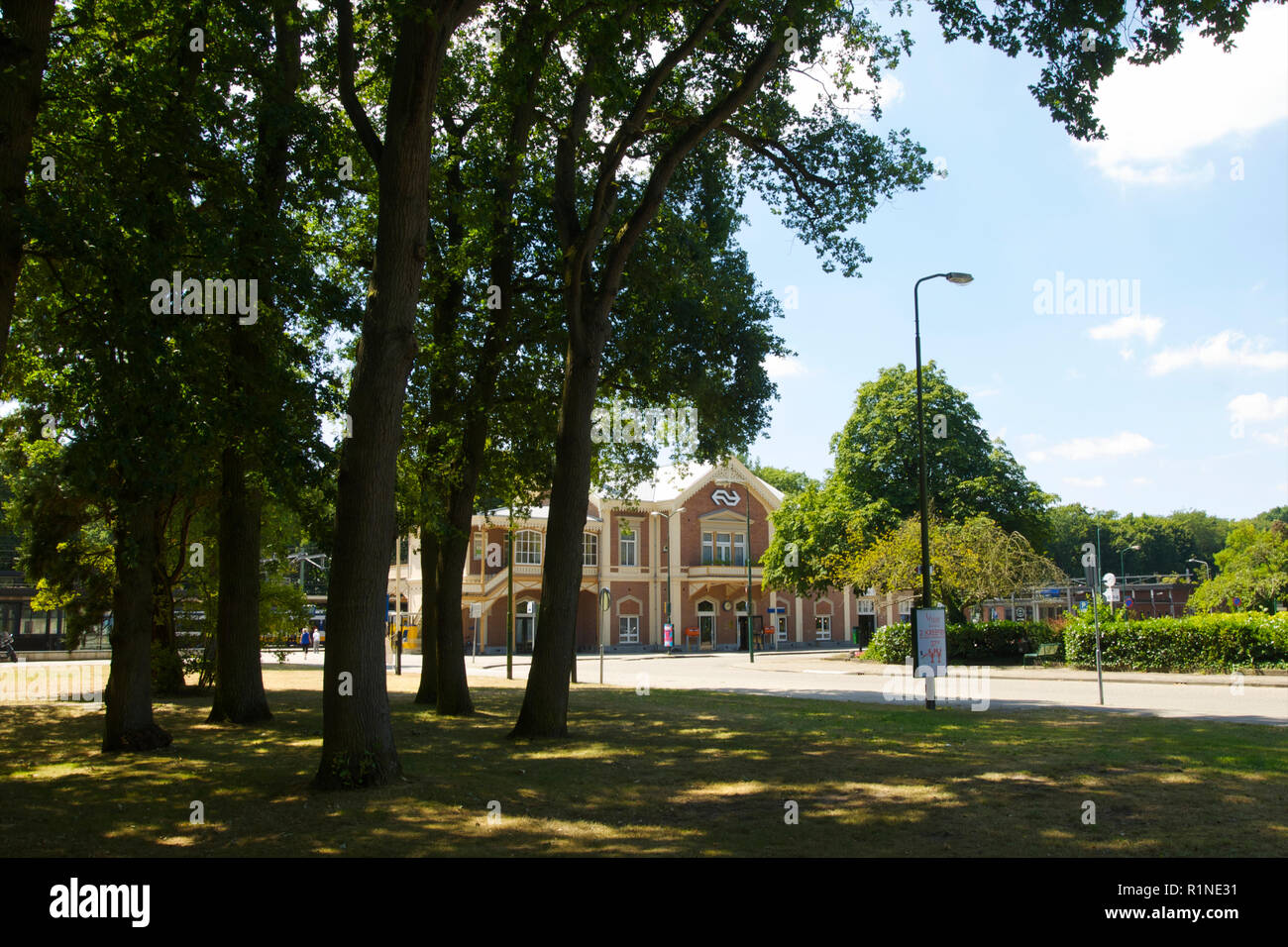 The front side of the historic railway station used for the Dutch Royal family in Baarn, the Netherlands - Stock Image