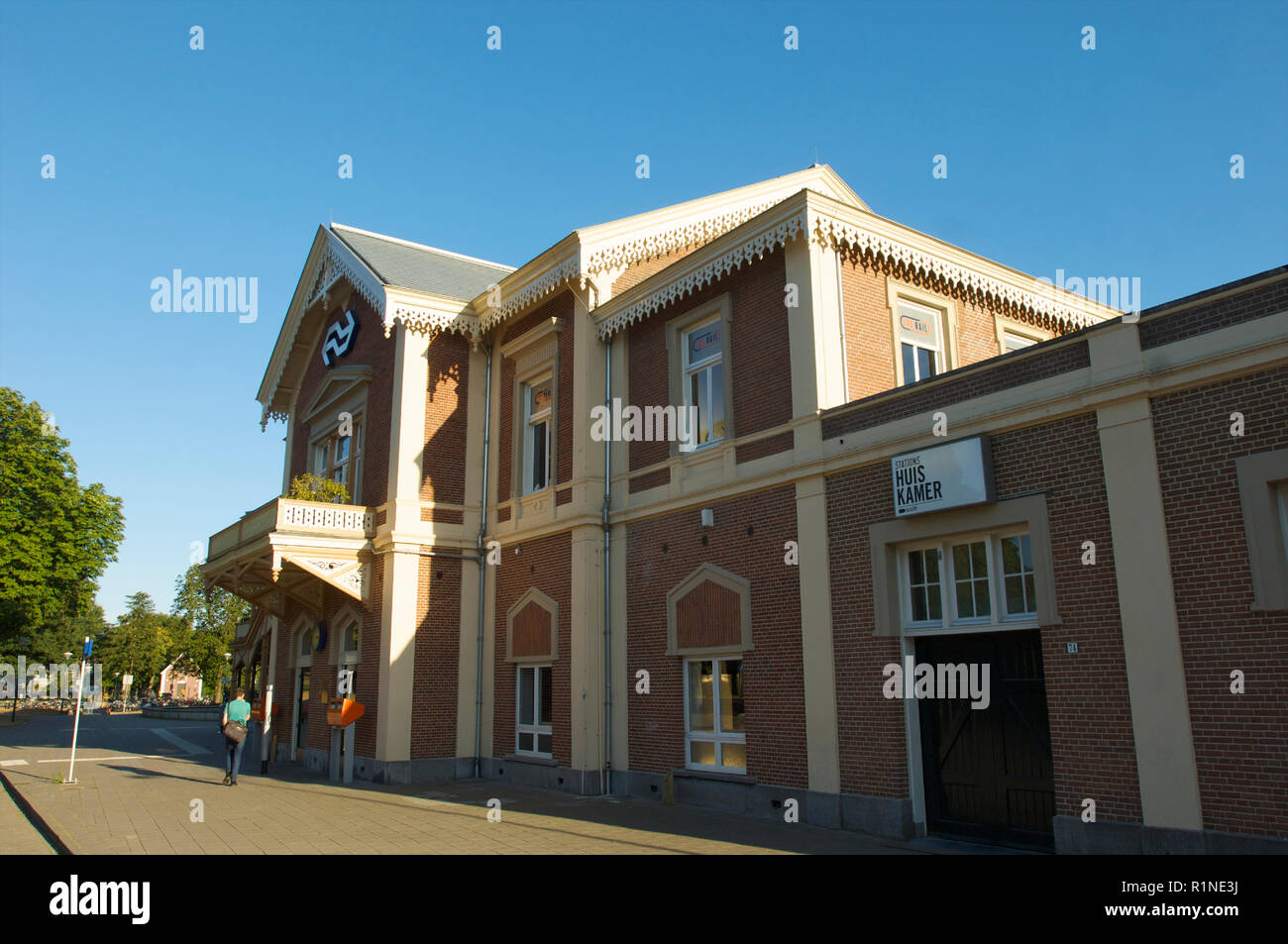 The front side of the historic railway station in Baarn with its specific architecture and used for the Dutch Royal family, the Netherlands - Stock Image