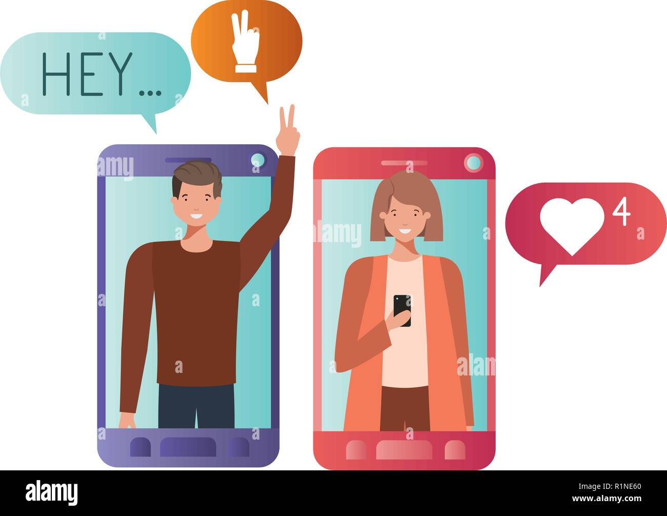young couple in smartphone avatar character Stock Vector