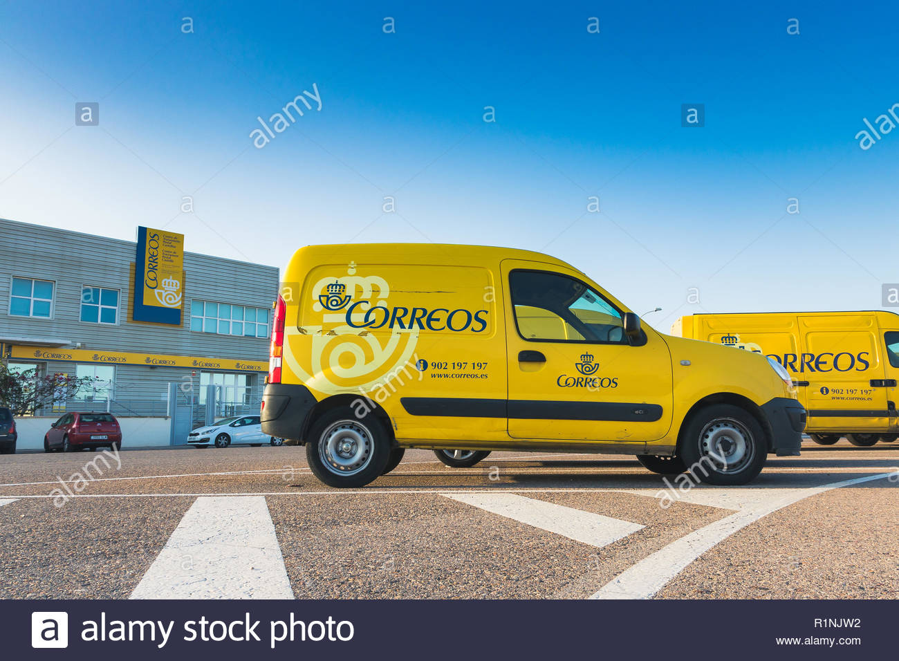 CASTELLON, SPAIN - SEPTEMBER 2018 - Delivery vans of the postal transport agency 'Correos'. - Stock Image