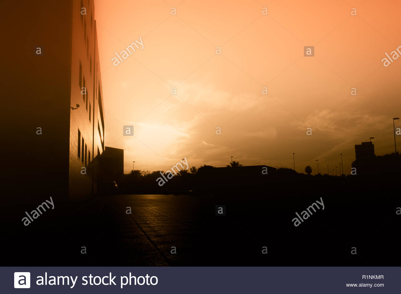 apocalyptic sunset in the city the end of time - Stock Image