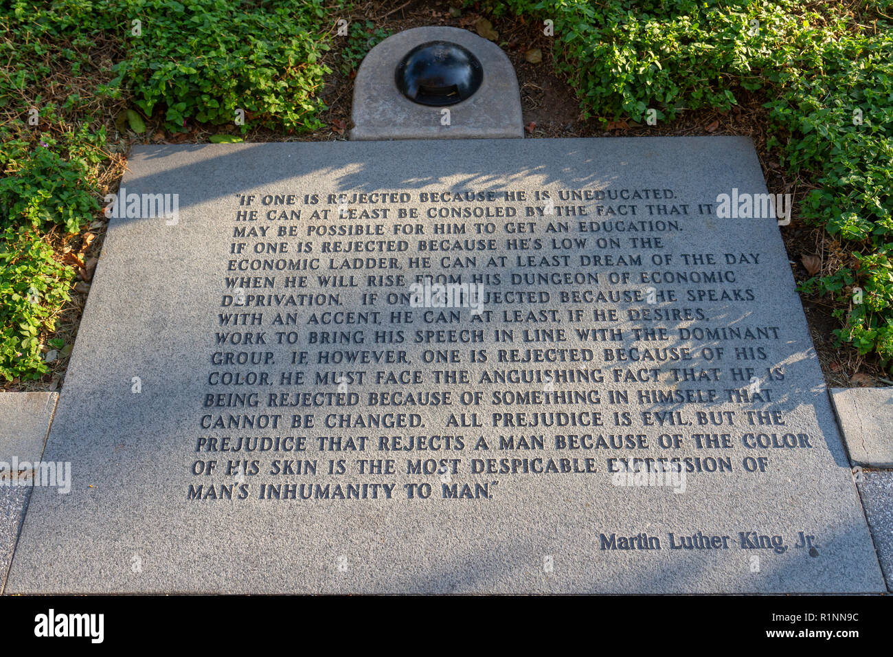 Quotation from Martin Luther King jr on Martin Luther King Promenade, San Diego, California, United States. - Stock Image