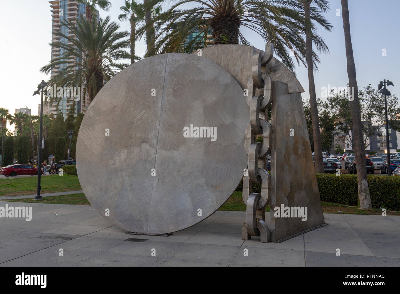 'Breaking of the Chains' sculpture by Melvin Edwards,  Martin Luther King Jr. Promenade, downtown San Diego, California, United States. - Stock Image