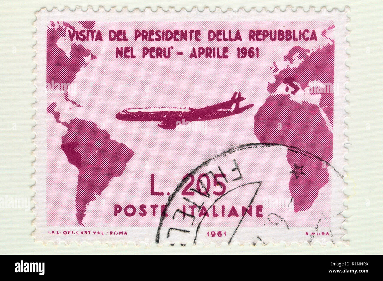 Italy - CIRCA 1961:A stamp printed in Italy, Rare used Italian stamp of Gronchi rose worth 205 Lire,commemorates the visit of Italian President Gronch - Stock Image