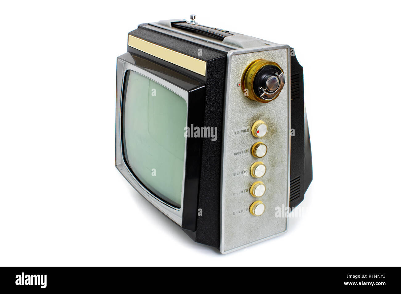 Old retro TV receiver for analog television on white background - Stock Image