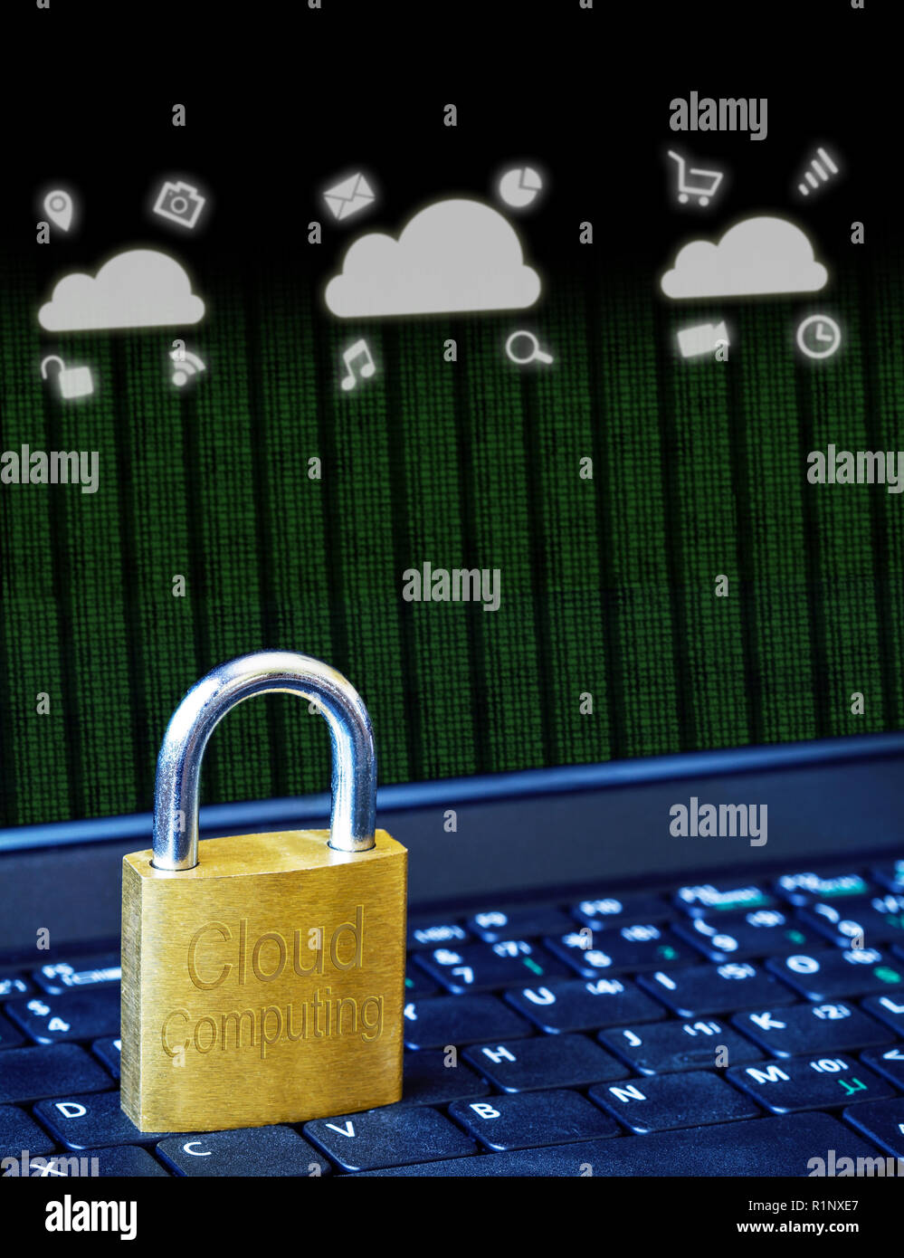Golden padlock on computer laptop keyboard with Cloud Computing icons and binary data. Concept of Internet security, data privacy, cybercrime preventi Stock Photo