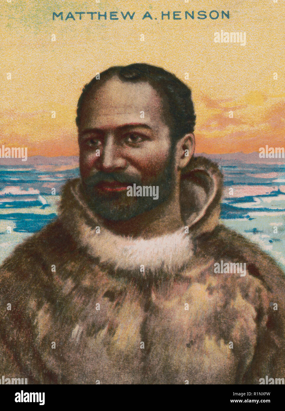 Matthew A. Henson - Cigarette card for American Tobacco Company's Hassan Cork Tip cigarettes shows portrait of Matthew Henson in parka in front of frozen landscape. 1910 - Stock Image