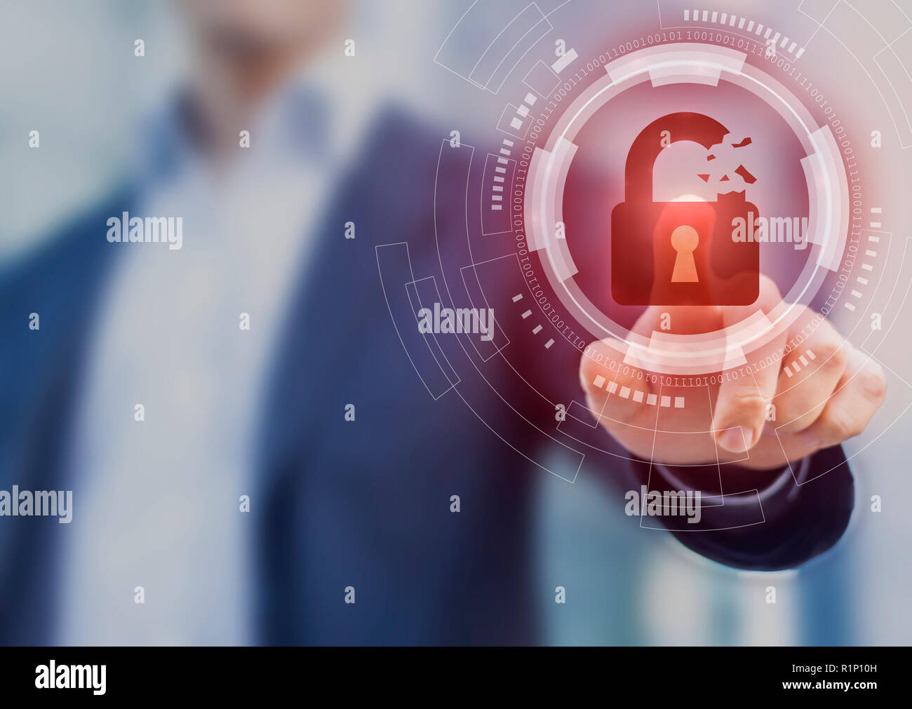 Security breach, system hacked, internet cyber attack alert with red broken padlock icon showing unsecured data, vulnerable access, compromised passwo Stock Photo
