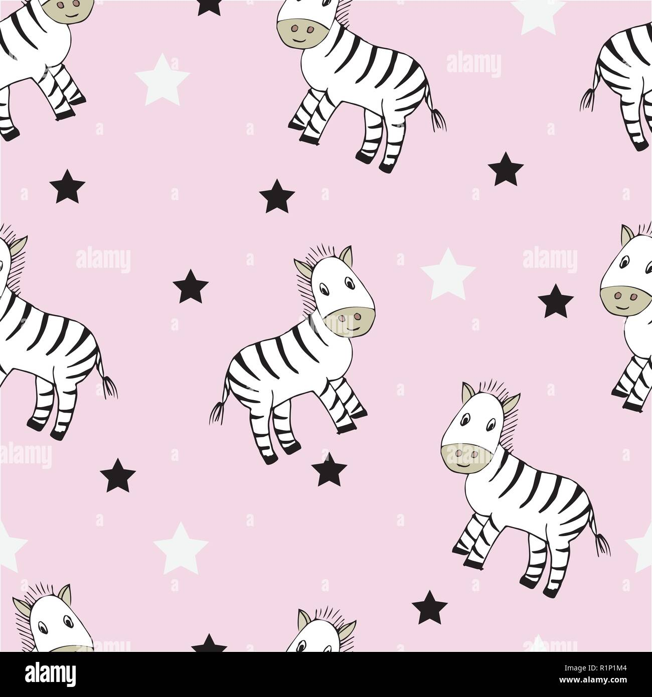 Funny Seamless Childish Pattern With Cute Zebras And Black And