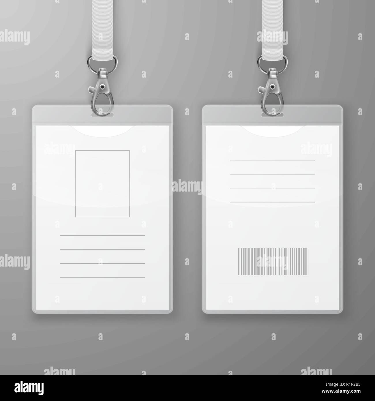 Two Vector Realistic Blank Office Graphic Id Cards with Clasp and Lanyard Closeup Isolated. Front and Back Side. Design Template of Identification Card for Mockup. Identity Card Mock-up in Top View - Stock Image