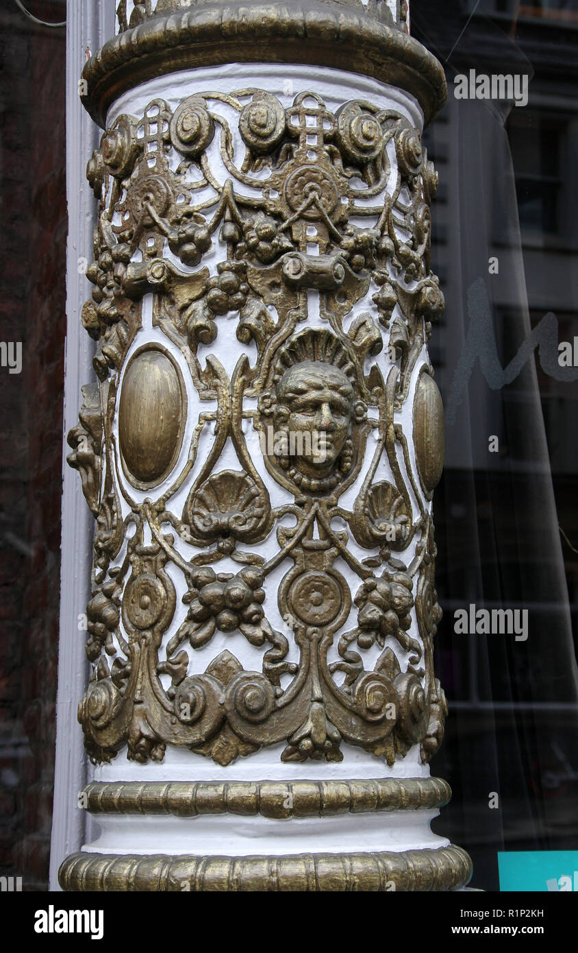 Ornate architectural detail of a shop facade on Dean street in Newcastle upon Tyne - Stock Image