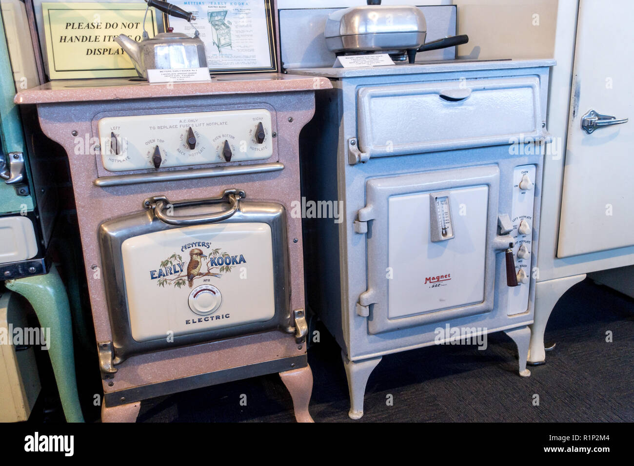 Two 1930's electric hotplate and oven ranges. On the left an Australian Metter's No2 'Early Kooka' range c1935. On the right a Magnet 1938 - Stock Image