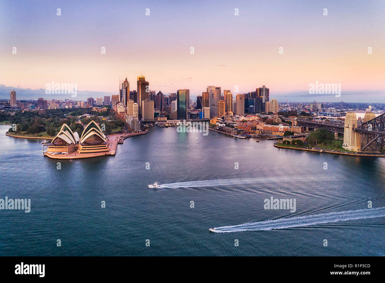 Two speed boats on calm waters of Sydney harbour in view of Circular quay and city CBD high-rise towers and Australian landmarks at sunrise with pink  - Stock Image