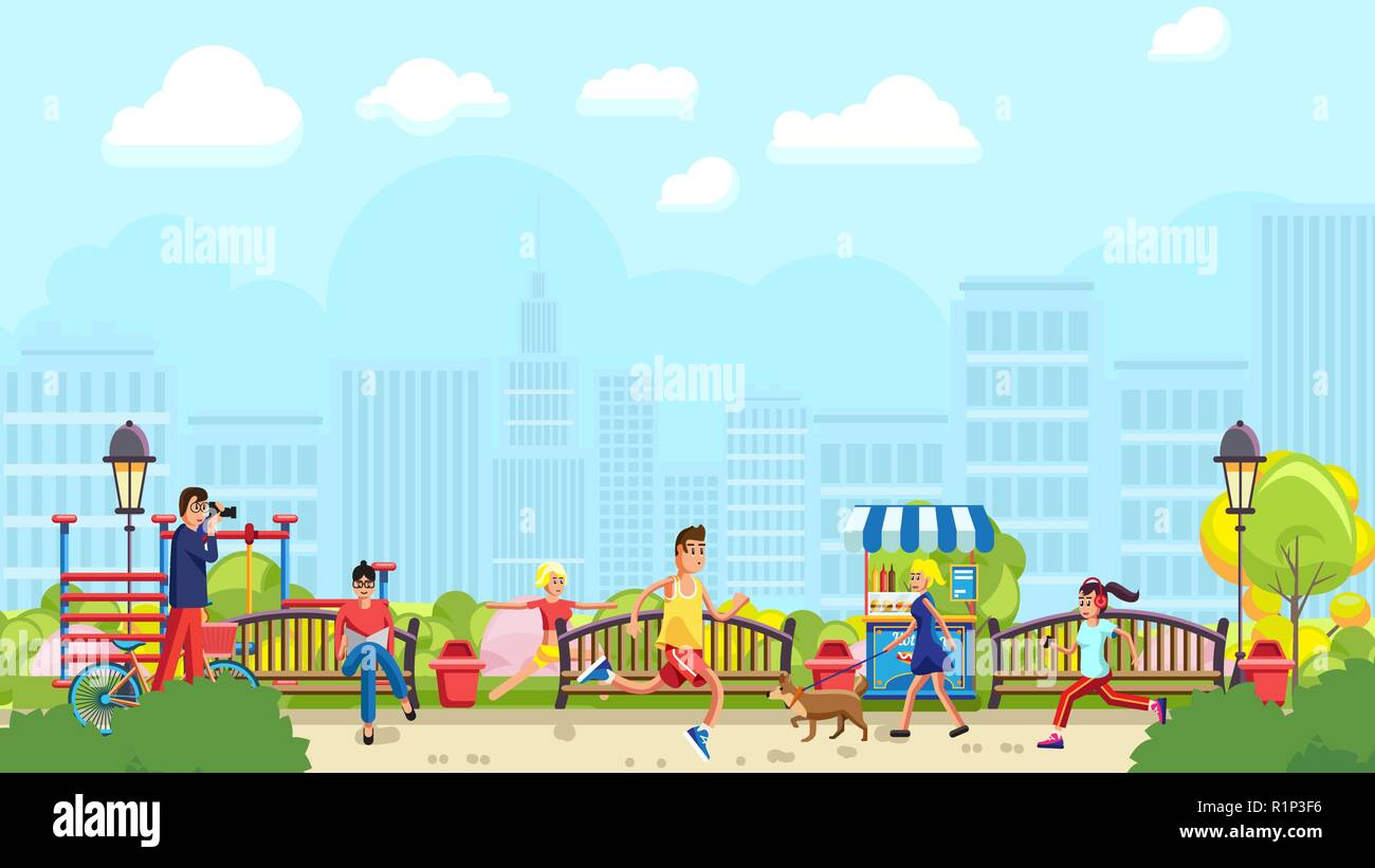 People spending time in city park - Stock Vector