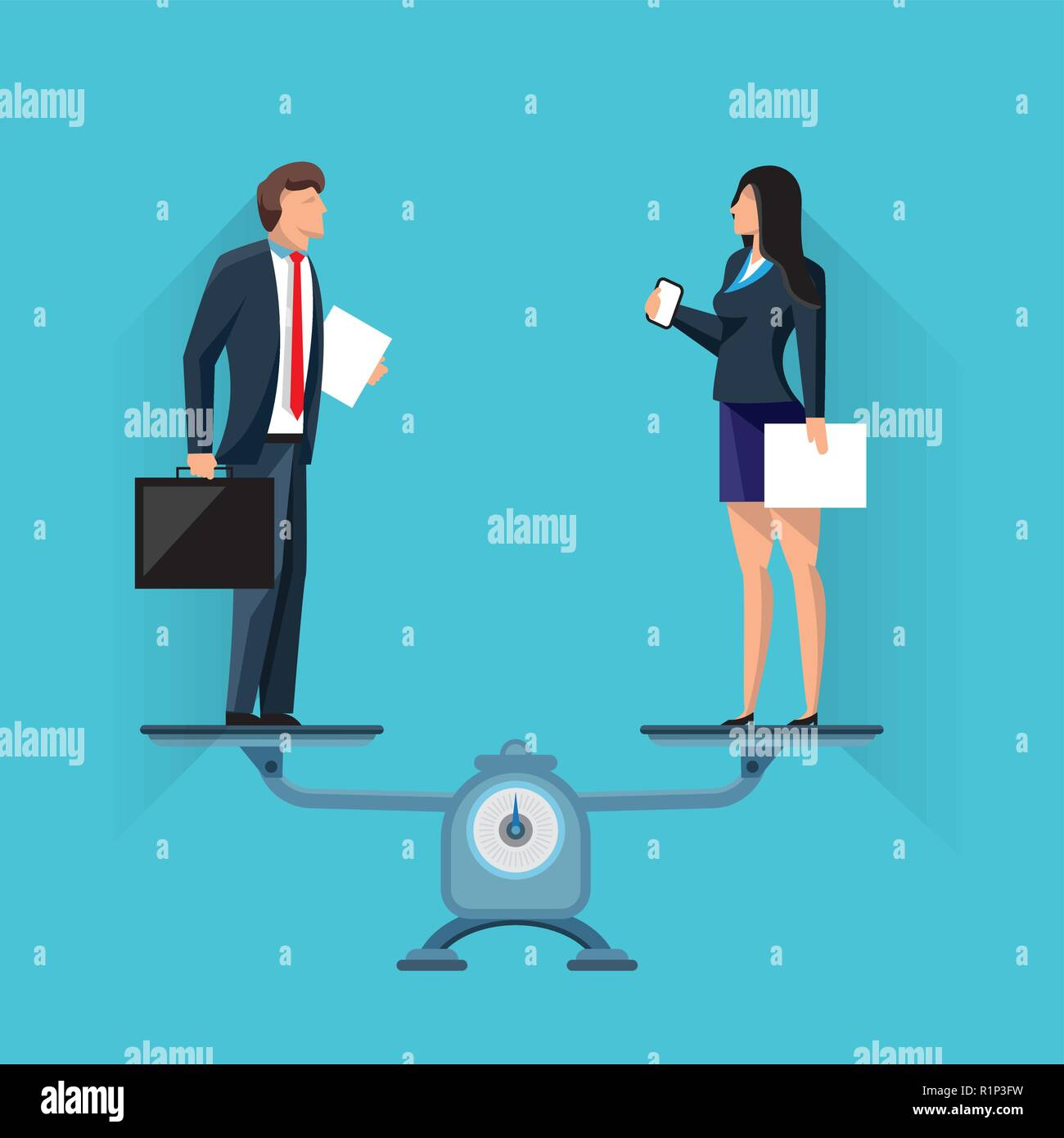 Businesspeople standing on scales in balance - Stock Vector