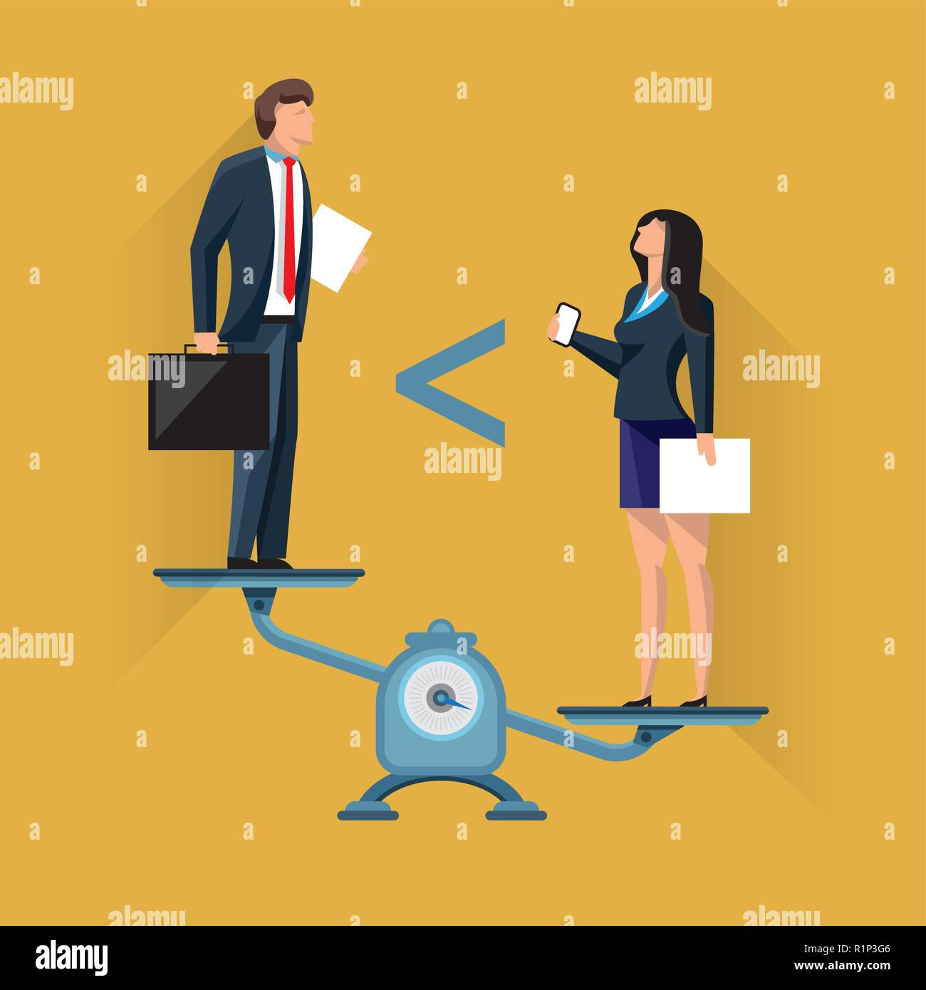 Unequal position of businesspeople on scales - Stock Image