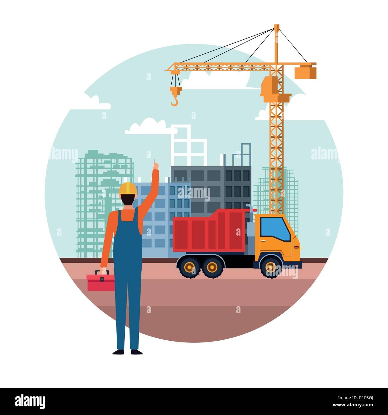 construction builder truck round icon cartoon vector ilustration