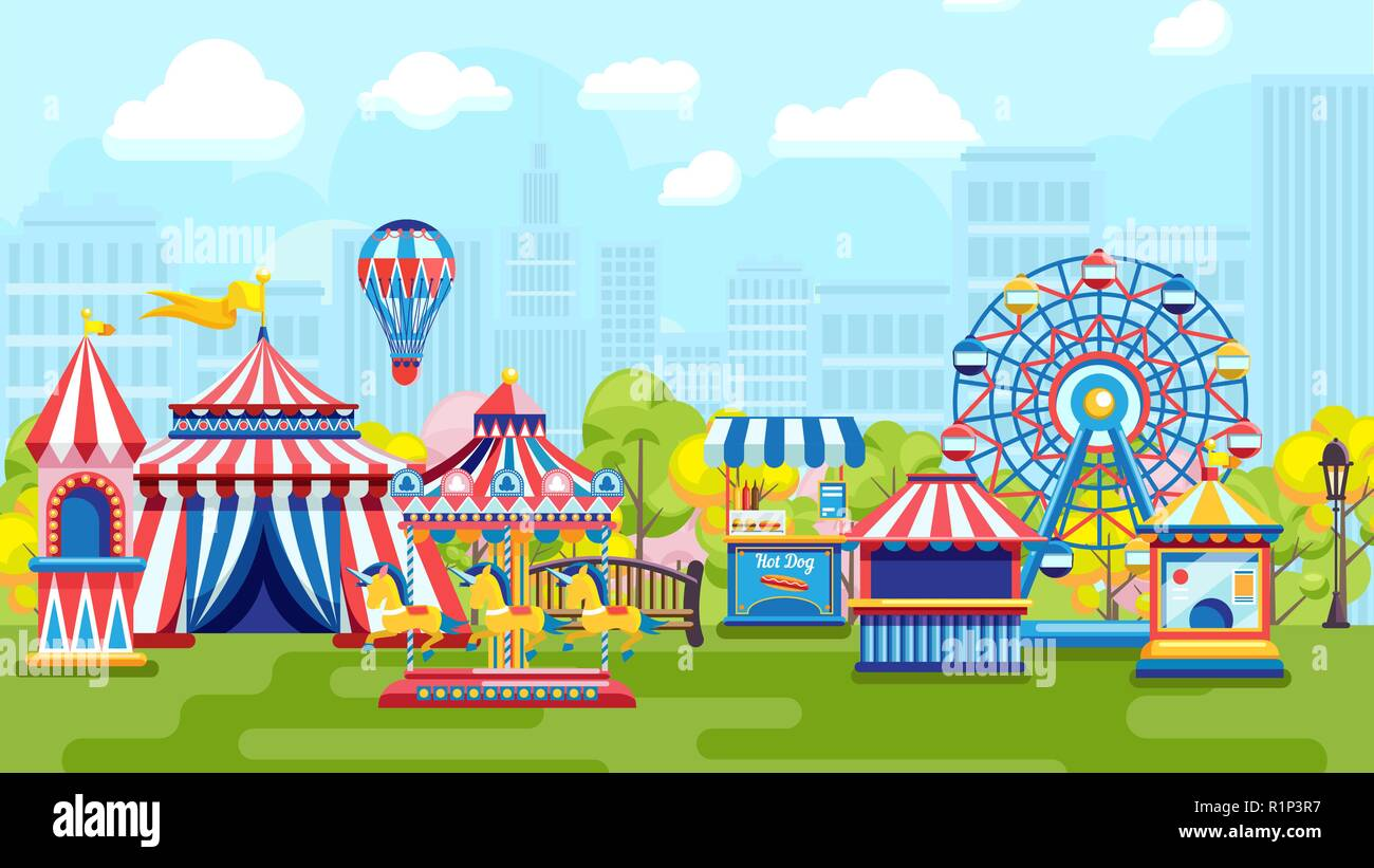 Carnival in city amusement park - Stock Vector