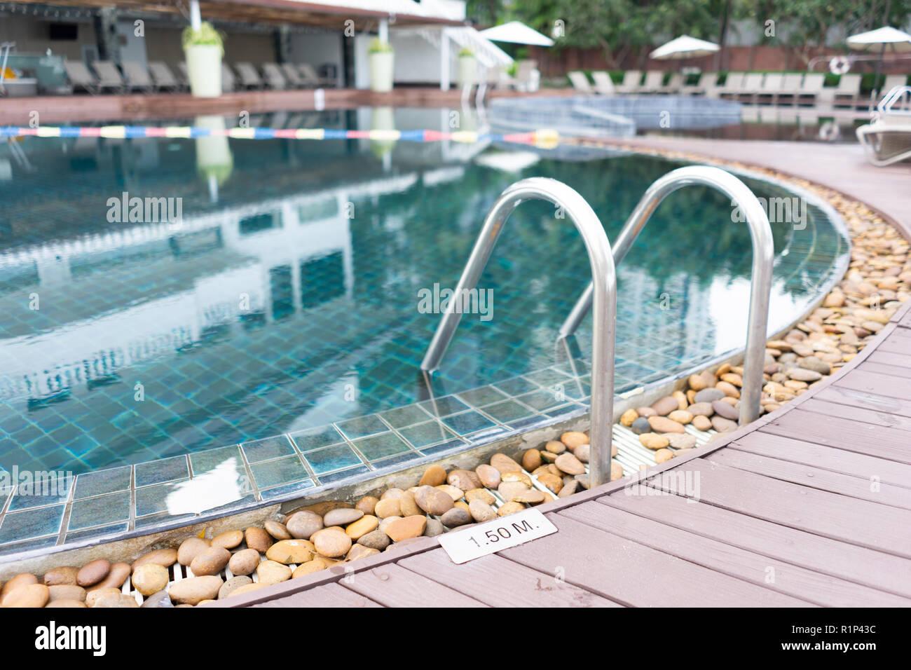 Swimming pool. Luxury hotel in Pattaya, Thailand. Summer beach vacation. Stock Photo